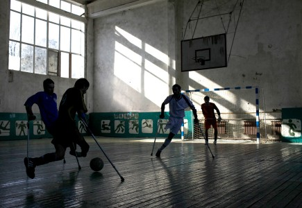Diana Markosian, A soccer team made up entirely of the victims of landmines practice at a local gym in Grozny, Chechnyaa