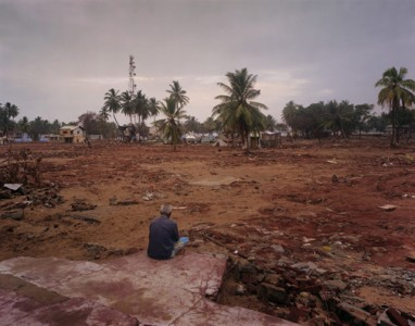 "Wyatt Gallery, Staring at Where His House Once Stood, 2005, Hambantota, Sri Lanka, from the series ""Where Do We Go From Here? The Aftermath of the Tsunami"" Digital Light Jet C-Print"