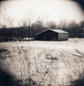 Jennifer Shaw Barn With Snow, 1999, Toned Gelatin Silver Print
