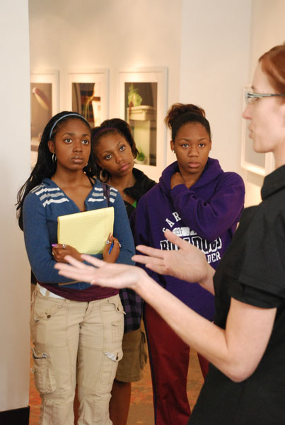 Students visiting the gallery