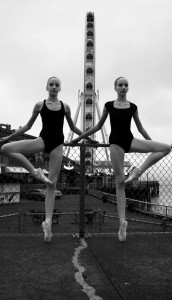 "Patricia Van Duersen University Prep High School, Seattle Washington Title: ""pas de deux"" Inkjet Print, 2013 ""The idea behind my photo was to contrast the softness of a ballerina or in this case two against the rugged backdrop of the city. I took inspiration from a Facebook page called the ballerina project which accomplishes the same objective of the soft versus rugged. """