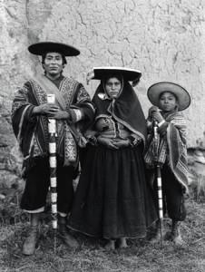 """Indian """"Varayoc"""" (Mayor) and family; Tinta, Kanchis, ca 1934."""