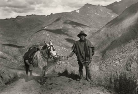 Self-portrait near native village of Coaza Carabaya, Puno, ca 1930.
