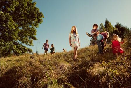 Holly Andres,Children Descending Spring Hill