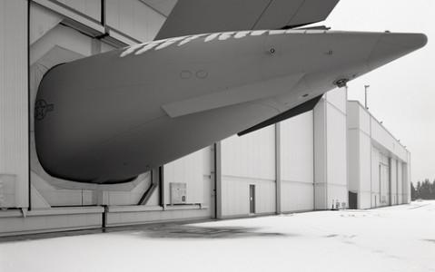 C-17A Globemaster III Tail Section, 2007 Gelatin Silver Print © Aaron Pultz