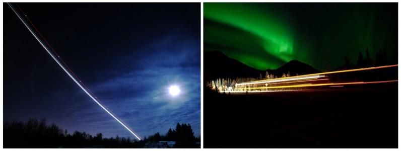 Christina Seely / Diptych - Man vs Natural Time:     SuperMoon + 3:02 am Flight, Anchorage AK, 3.21.11 / Aurora + 11:43pm Truck, Denali, AK 9.13.10
