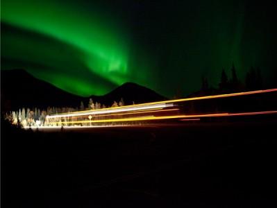 Christina Seely / Man vs Natural Time:  Aurora + 11:43pm Truck, Denali, AK 9.13.10